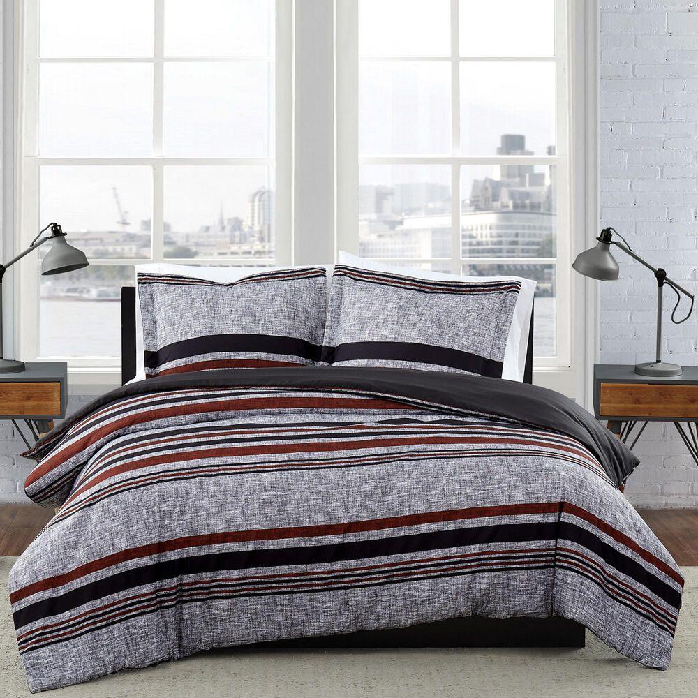 Pem America London Fog Warren 2-Piece Twin XL Comforter Set in Grey and Black, , large