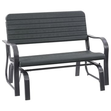 CorLiving Lake Front Patio Gliding Bench in Dark Green, , large