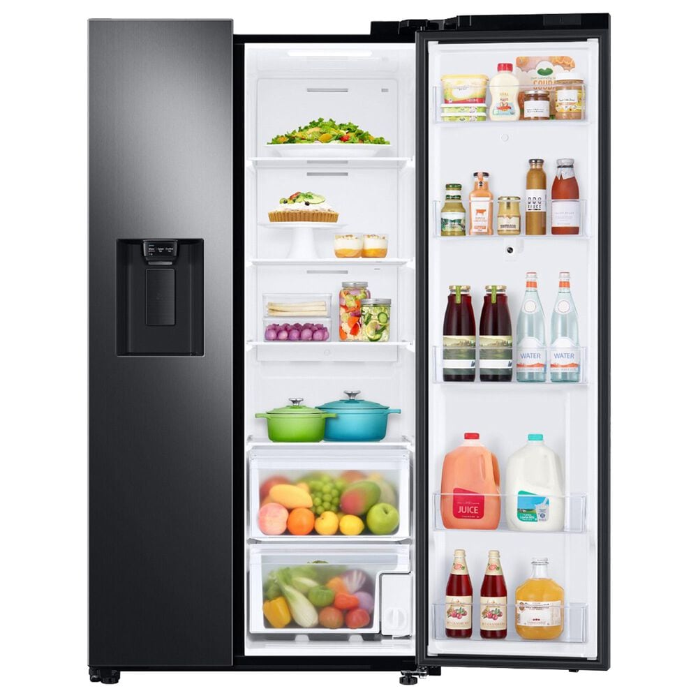 Samsung 4-Piece Kitchen Package with 26.7 Cu. Ft. Side-by-Side Refrigerator and Bar Handle Dishwasher in Black Stainless Steel, , large