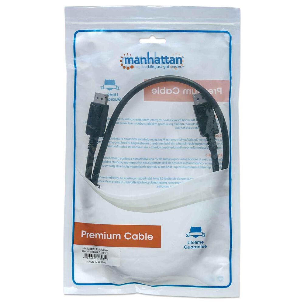 Manhattan 4K DisplayPort Monitor Cable in Black, , large