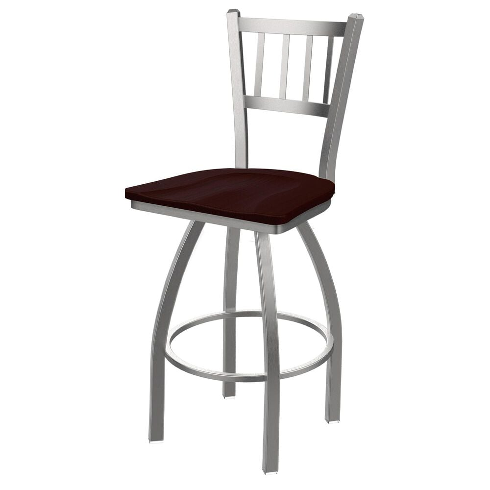 """Holland Bar Stool 810 Contessa 25"""" Swivel Counter Stool with Stainless and Dark Cherry Oak Seat, , large"""