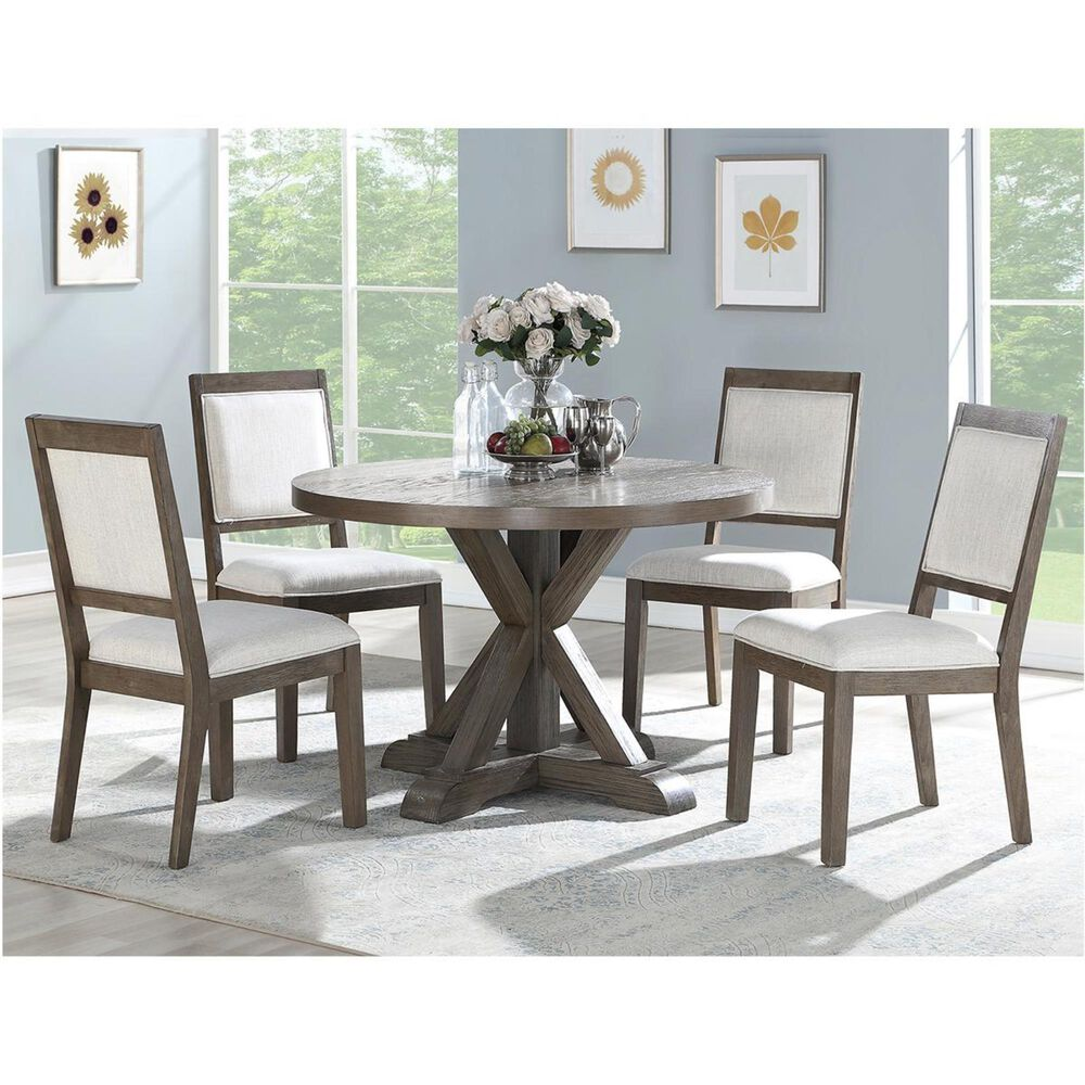 Crystal City Molly 5-Piece Round Dining Set in Grey Washed, , large