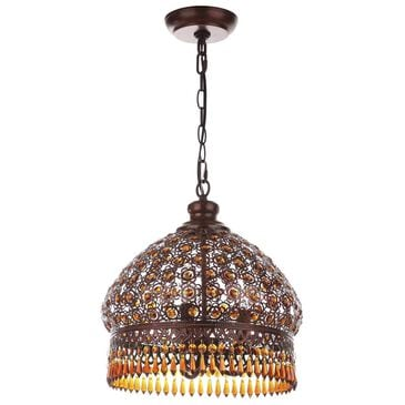 "Safavieh Sultan 13.5"" 3-Light Jeweled Pendant in Dark Bronze/Amber, , large"