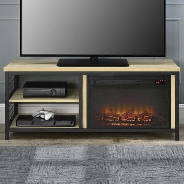 "DHP Lone Oak 55"" TV Stand with Fireplace in Golden Oak, , large"
