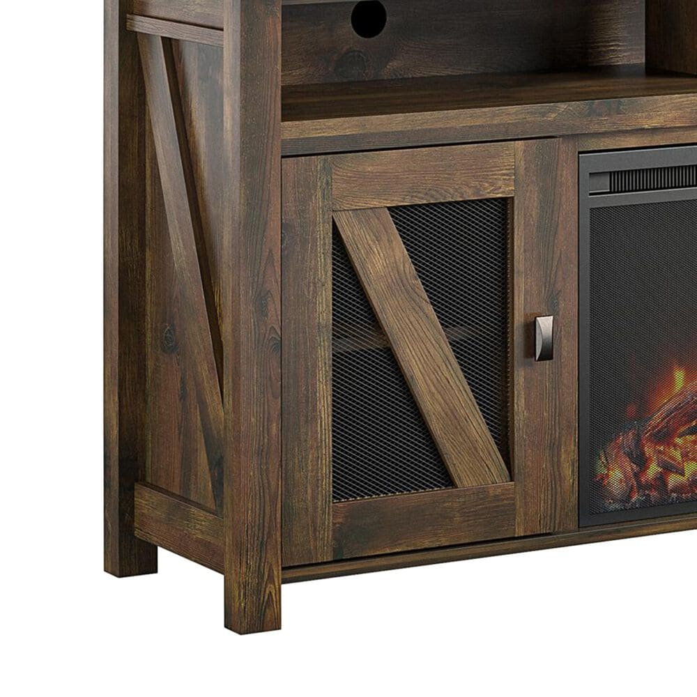 """DHP Ayers 60"""" TV Stand with Fireplace in Rustic and Heritage Pine, , large"""