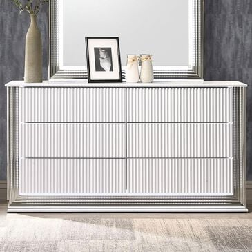 Global Furniture USA Aspen 6 Drawer LED Dresser in White Gloss, , large
