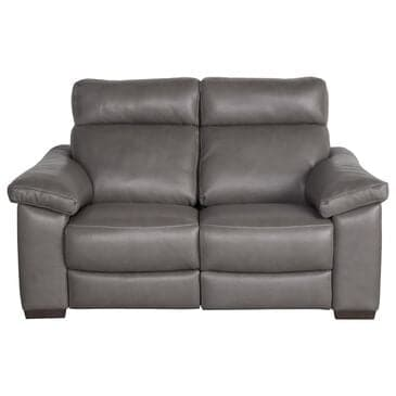 Natuzzi Editions Estremo Leather Loveseat with Dual Power Motion in Sauvage Dark Gray, , large