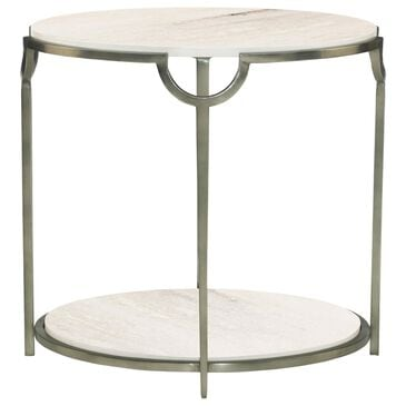 Bernhardt Morello Oval End Table in White Faux Marble and Oxidized Nickel, , large