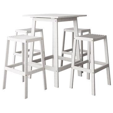 CorLiving Miramar 5-Piece Patio Pub Table Set in White, , large