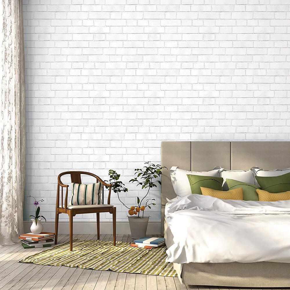 Tempaper 56 sq ft. Brick White Peel and Stick Wallpaper, , large