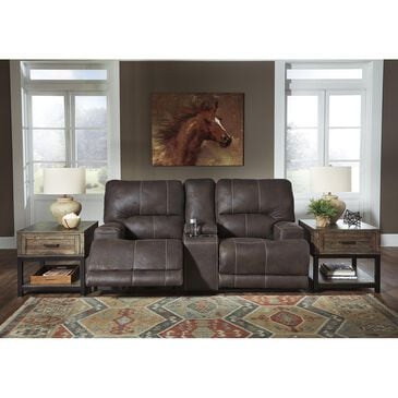 Signature Design by Ashley Kitching Power Recliner Loveseat with Adjustable Headrest in Brown, , large