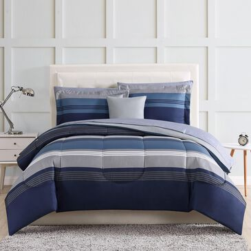 Pem America Style Carlyle 6-Piece Twin Bed in a Bag in Blue, , large