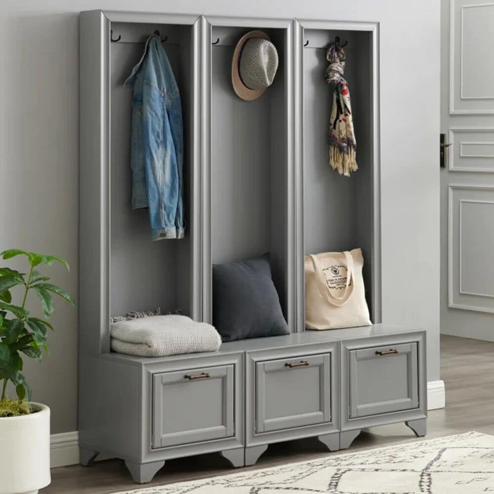 Crosley Furniture Tara 3-Piece Entryway Set in Distressed Gray, , large