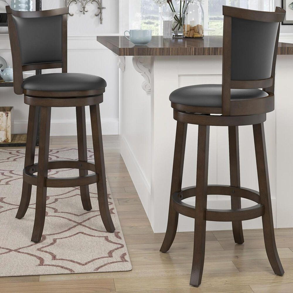 CorLiving Woodgrove Upholstered Back Barstool in Cappuccino with Black Cushion (Set of 2), , large