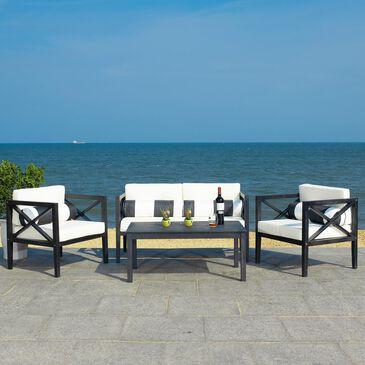 Safavieh Nunzio 4-Piece Outdoor Living Set in Black/Beige/Blkwht, , large