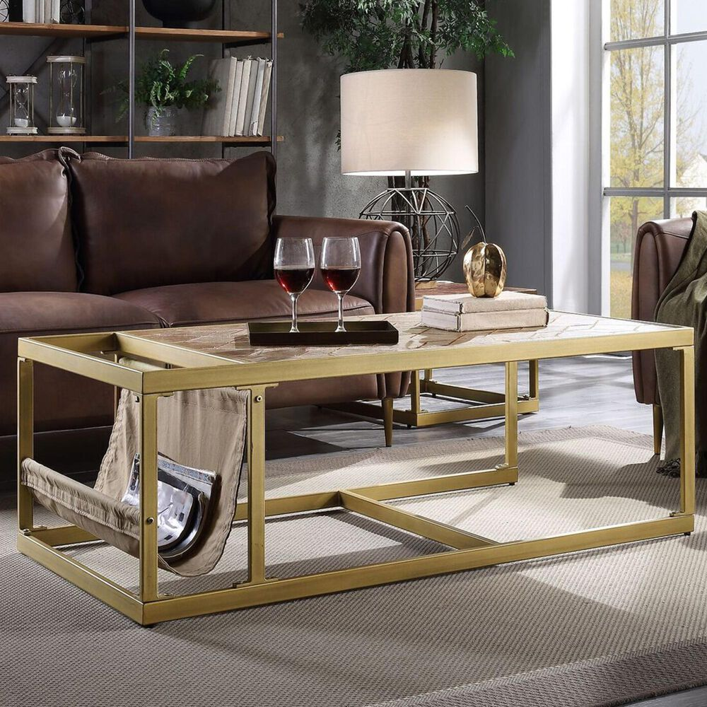 Gunnison Co. Genevieve Coffee Table in Retro Brown Top Grain Leather, , large