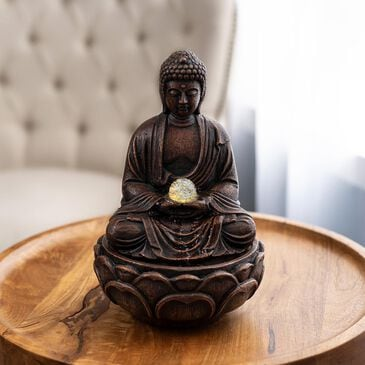 Timberlake Pure Garden Sitting Buddha LED Fountain in Weathered Brown, , large