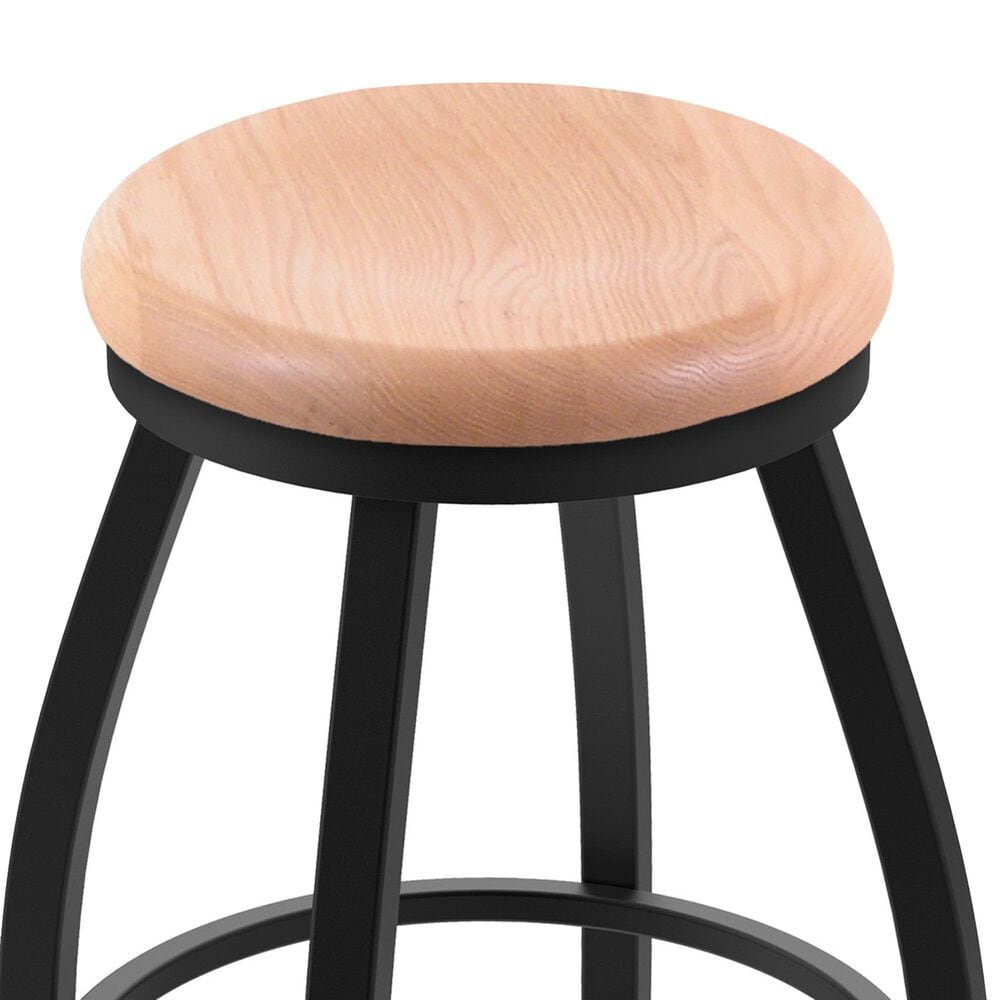 """Holland Bar Stool 802 Misha 25"""" Swivel Counter Stool with Black Wrinkle and Natural Oak Seat, , large"""