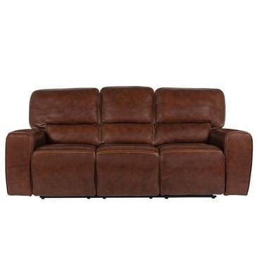 Italiano Furniture Leather Power Recliner Sofa with Power Headrest in Brown, , large