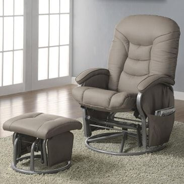 Pacific Landing Glider and Ottoman in Beige Vinyl, , large