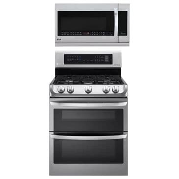 LG 2-Piece Kitchen Package with 6.9 Cu. Ft. Gas Double Oven Range and 2.2 Cu. Ft. Microwave Oven EasyClean in Stainless Steel, , large