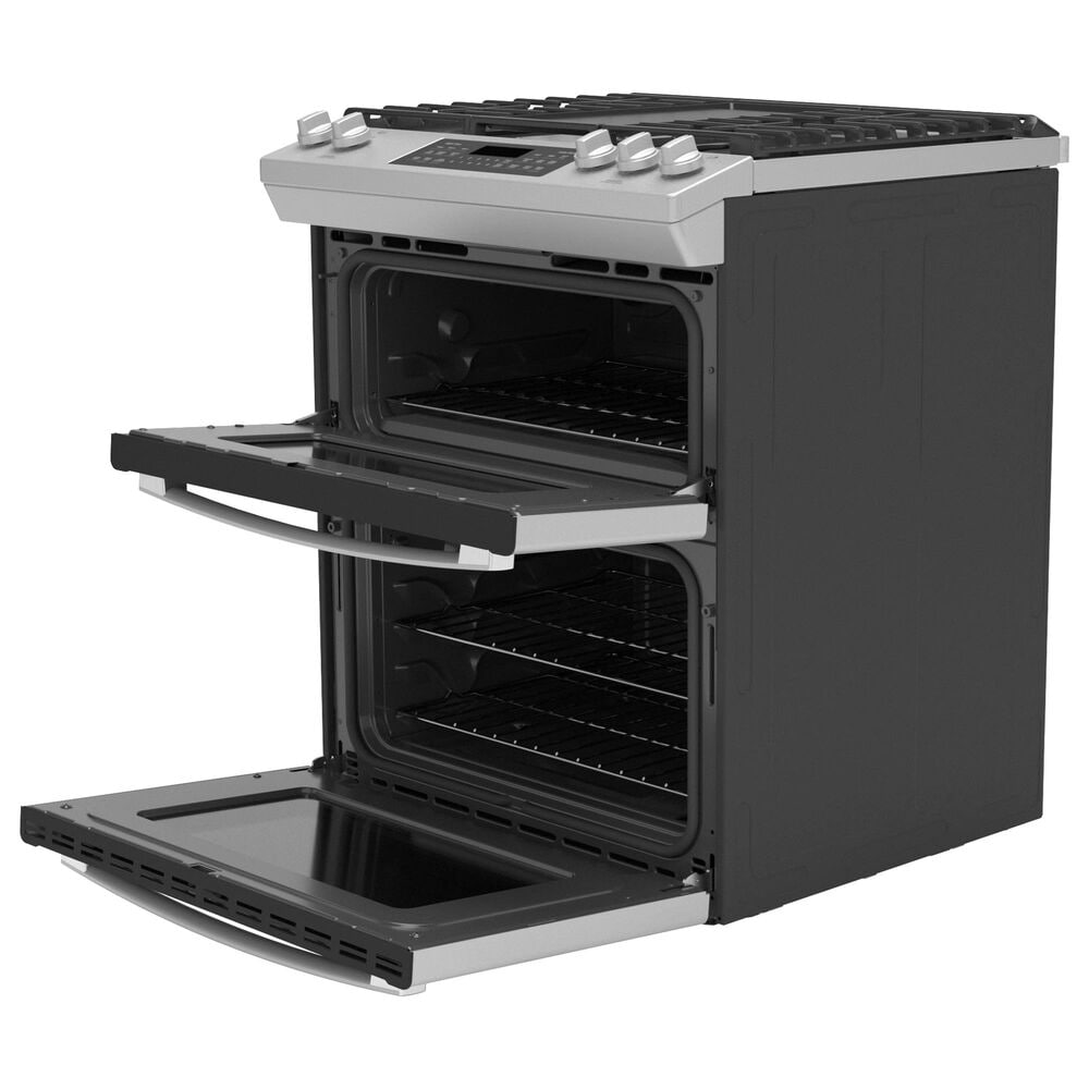 """GE Appliances 30"""" Slide-In Front-Control Gas Double Oven Range in Stainless Steel, , large"""