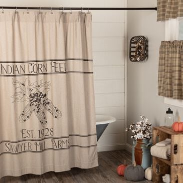 VHC Sawyer Mill Farmhouse Shower Curtain in Khaki with Corn, , large