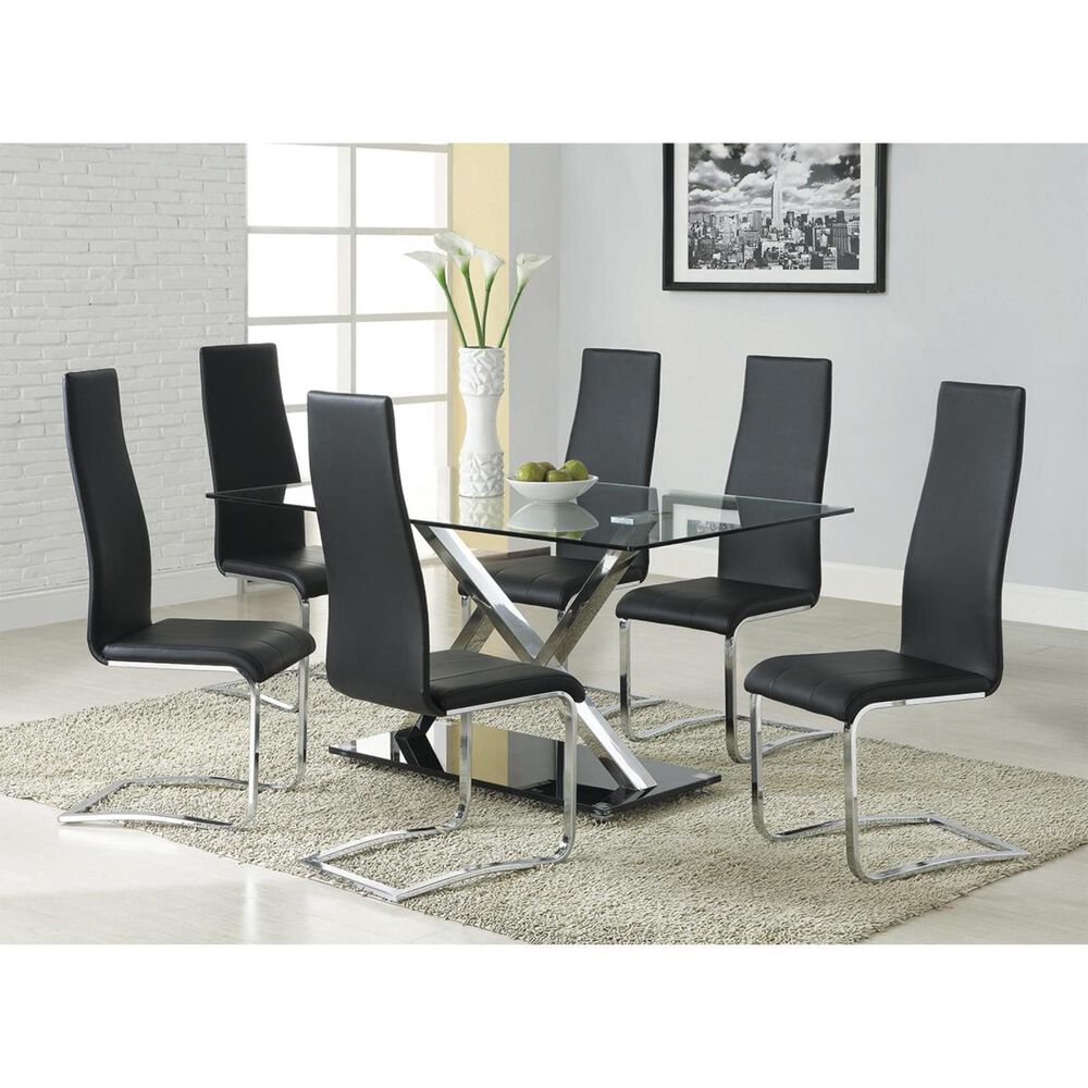 Pacific Landing Faux Leather Dining Chair in Black - Set of 4, , large