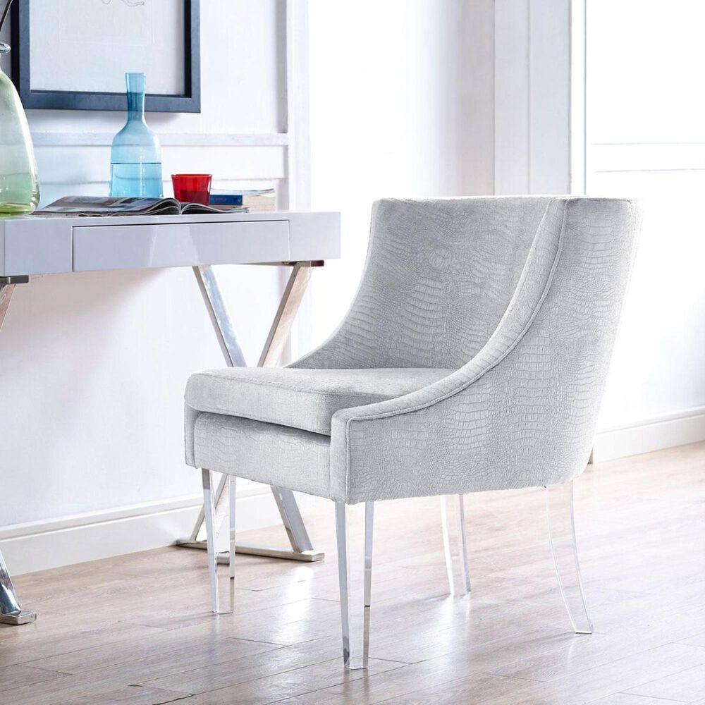 Tov Furniture Myra Chair in Silver Crocodile Velvet, , large