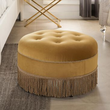 Jennifer Taylor Home Yolanda Tufted Decorative Round Ottoman in Gold, , large