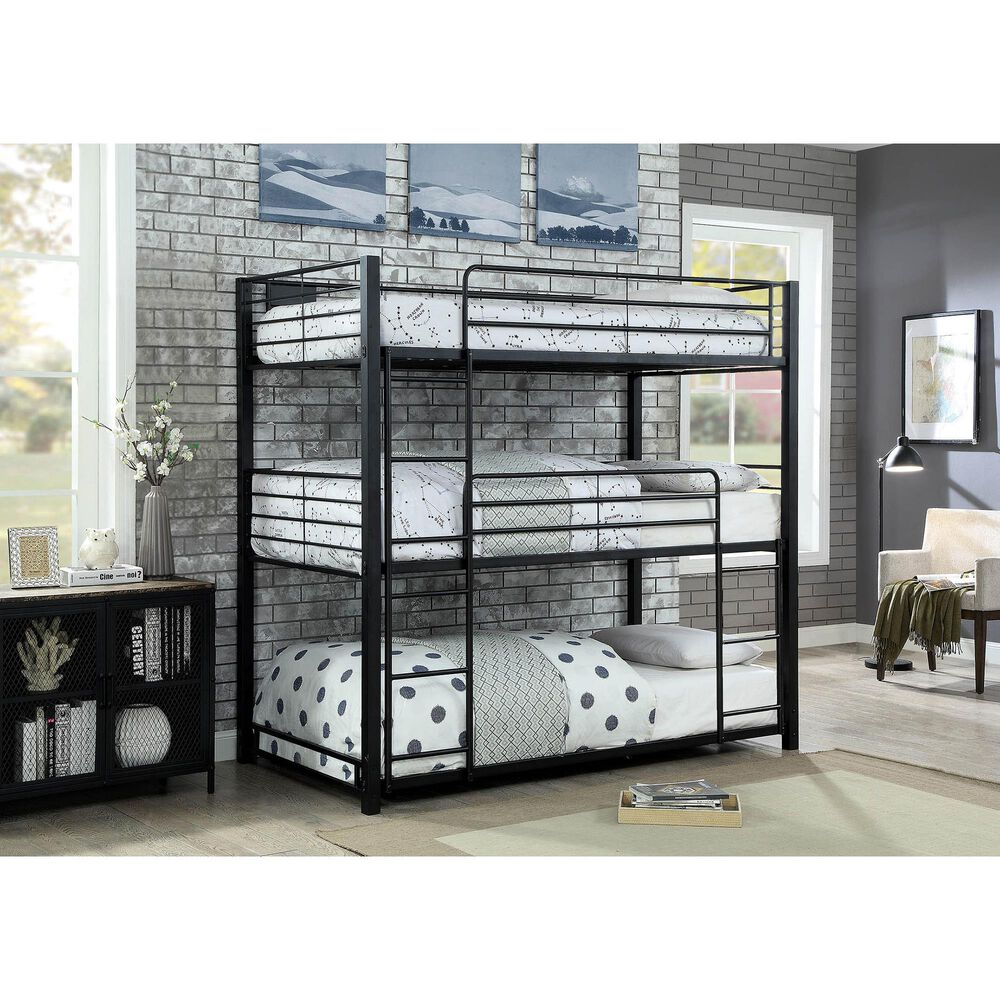 Furniture of America Ortega Triple Twin Bunk Bed in Sand Black, , large