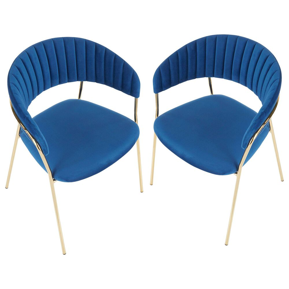 Lumisource Tania Dining Chair in Blue/Gold (Set of 2), , large