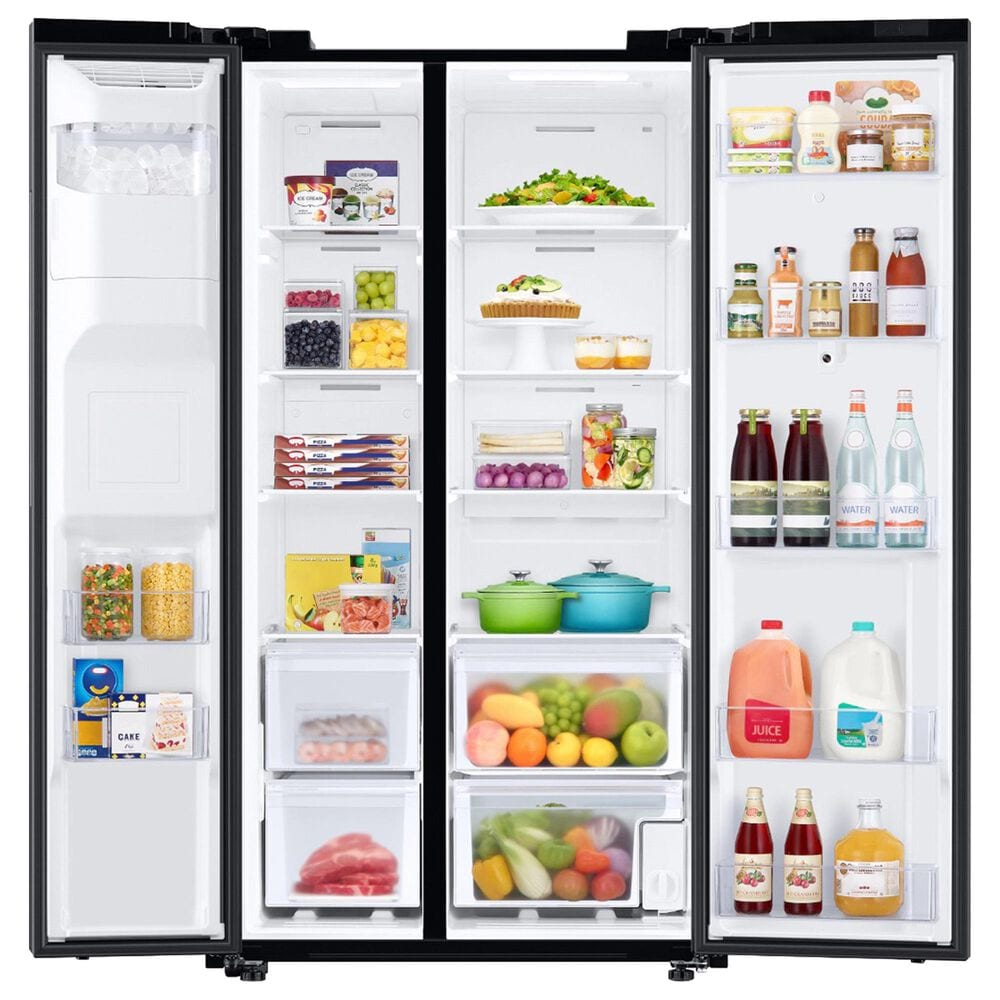 Samsung 4-Piece Kitchen Package with 26.7 Cu. Ft. Side-by-Side Refrigerator and Pocket Handle Dishwasher in Black Stainless Steel, , large