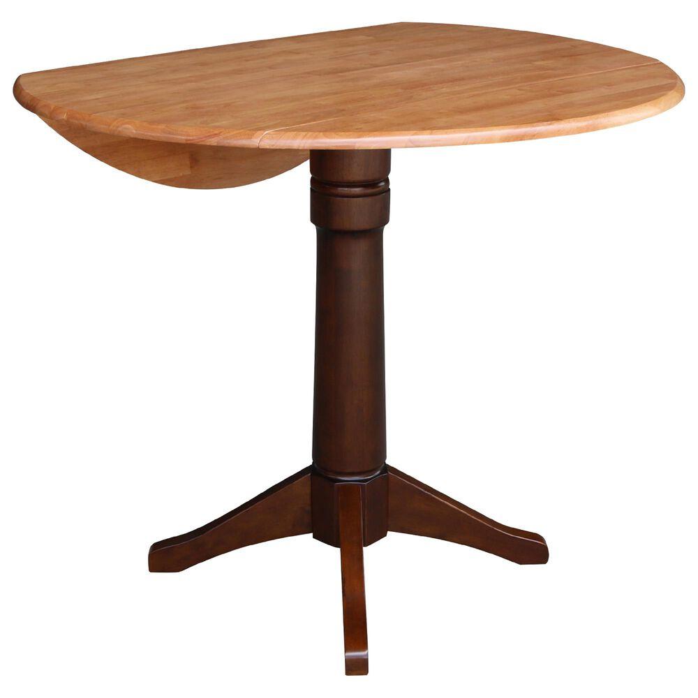 "International Concepts 42"" Modern Farmhouse Drop Leaf Dining Table in Cinnamon/Espresso/Dark Wood , , large"