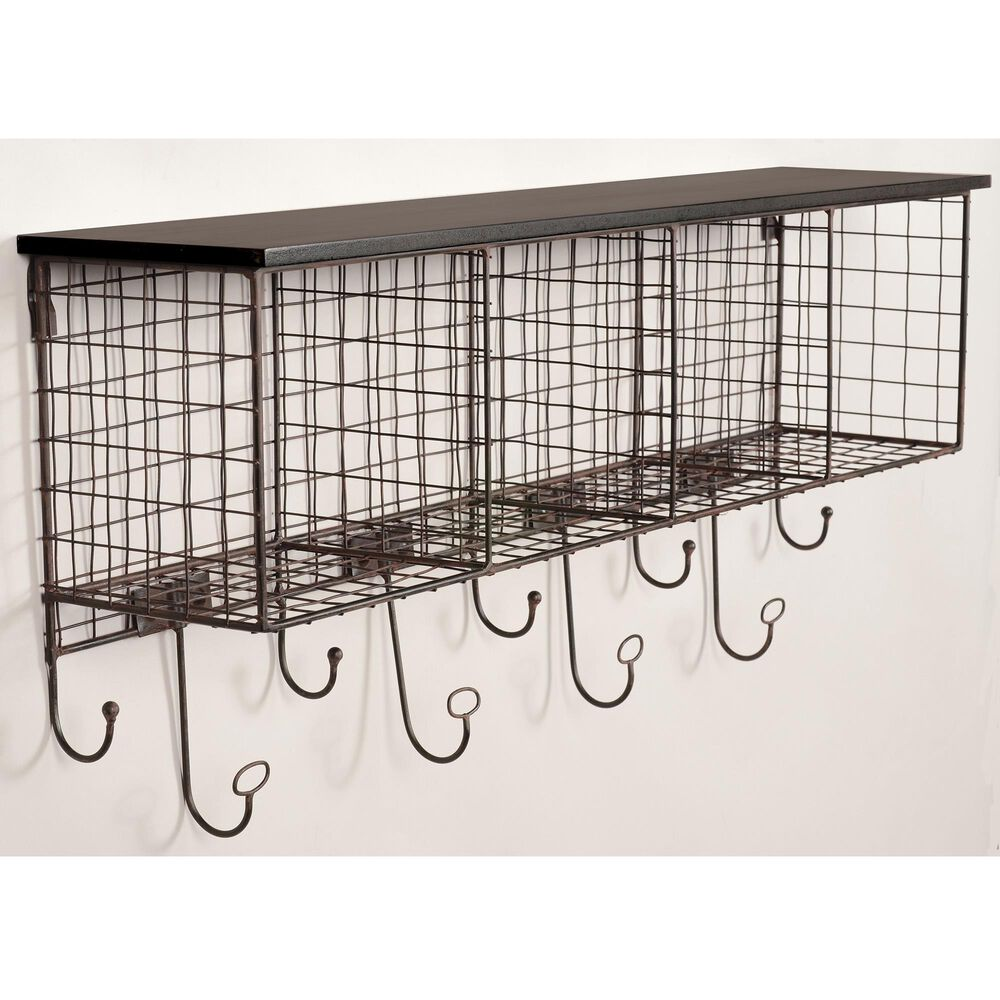 Linden Boulevard Pearse 4-Cubby Wall Shelf in Black, , large