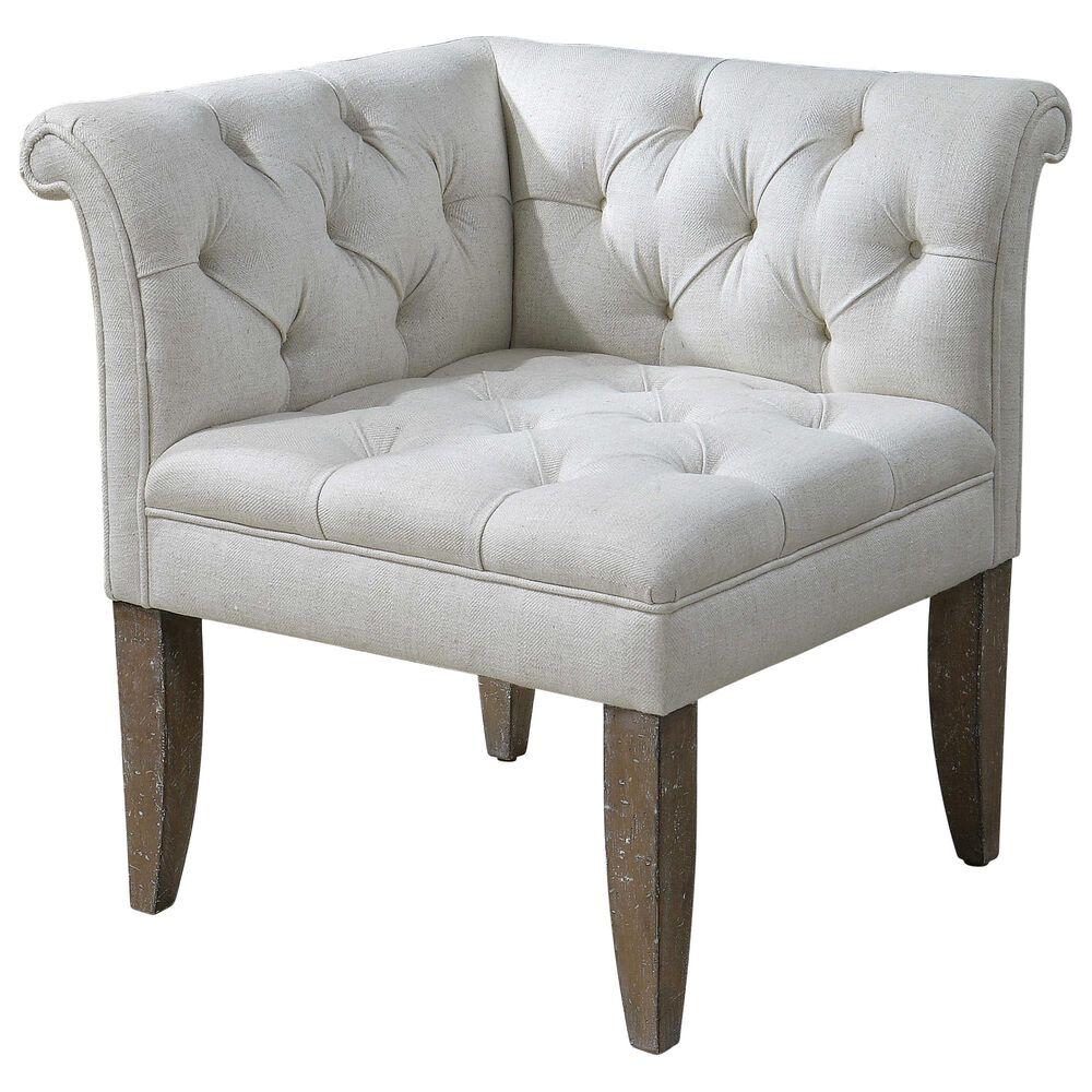 Uttermost Tahtesa Corner Chair in Bright Ecru, , large