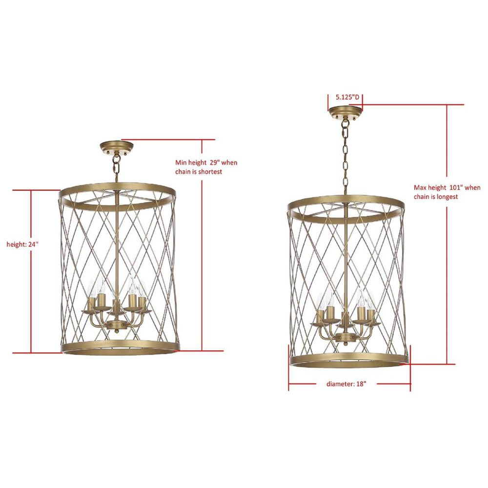 "Safavieh Alair 18"" Adjustable Pendant Lamp in Gold, , large"