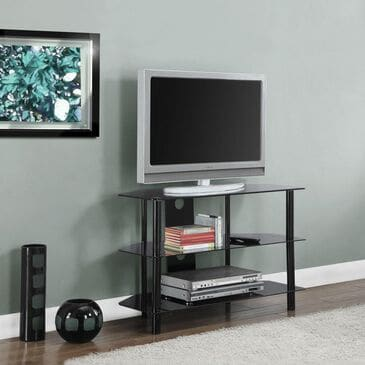 "Monarch Specialties 36"" TV Stand With Tempered Black Glass in Black Metal, , large"
