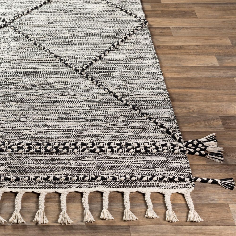 Surya Zanafi ZNF-2300 6' x 9' Black and Cream Area Rug, , large
