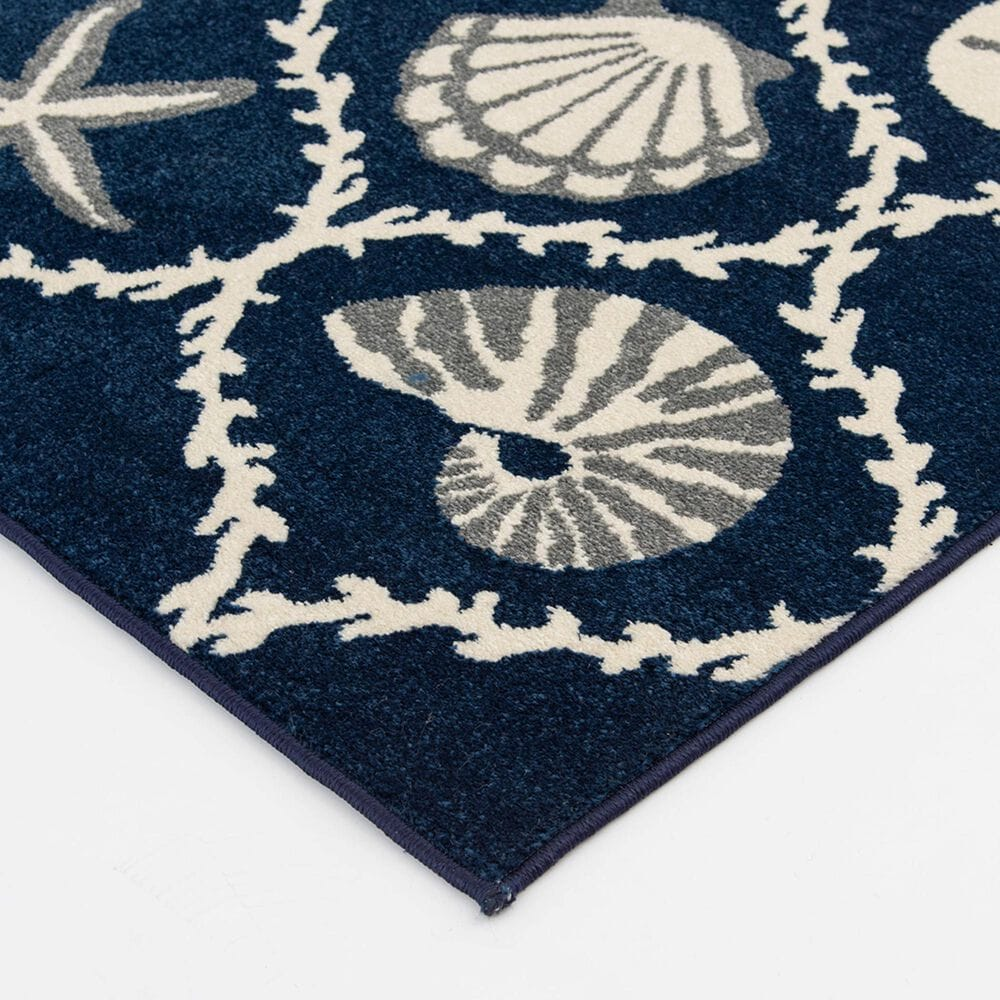 "Central Oriental Terrace Tropic Coastal Coral Lattice 2342PN.085 7'10"" x 9'10"" Sapphire and Snow Area Rug, , large"