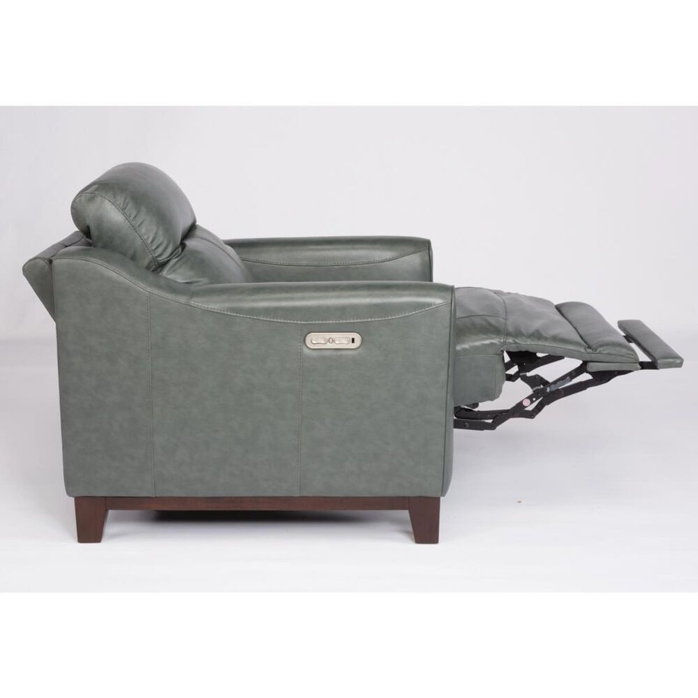 Flexsteel Forte Leather Power Recliner with Power Headrest in Teal Green, , large