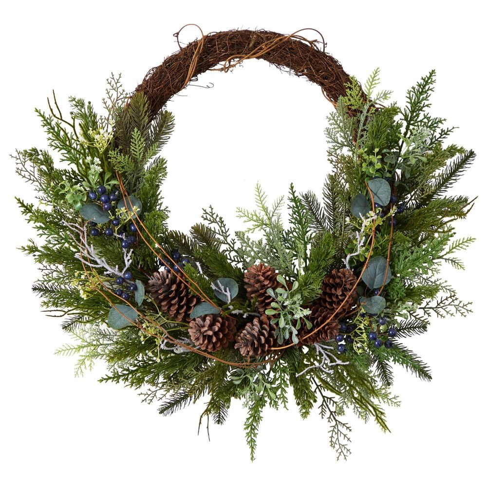 Nearly Natural Inc 30in. Pine and Pinecone Artificial Christmas Wreath on Twig Ring, , large