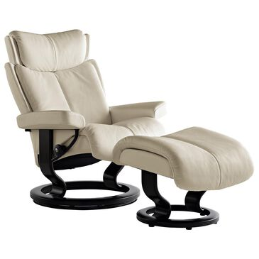 Ekornes Magic Small Chair and Ottoman with Black Base in Paloma Light Grey, , large