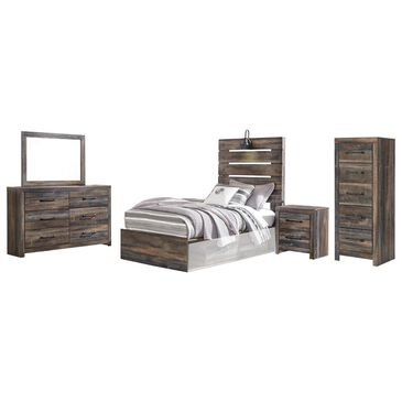 Signature Design by Ashley Drystan 5-Piece Twin Panel Bed Set in Burnt Orange and Teal, , large