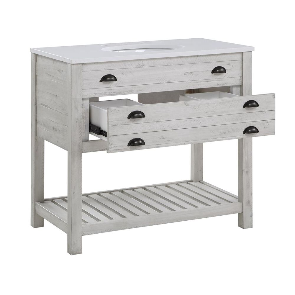 """Coast To Coast Imports 36"""" Vanity With Top, Single Sink, 1 Drawer in White, , large"""