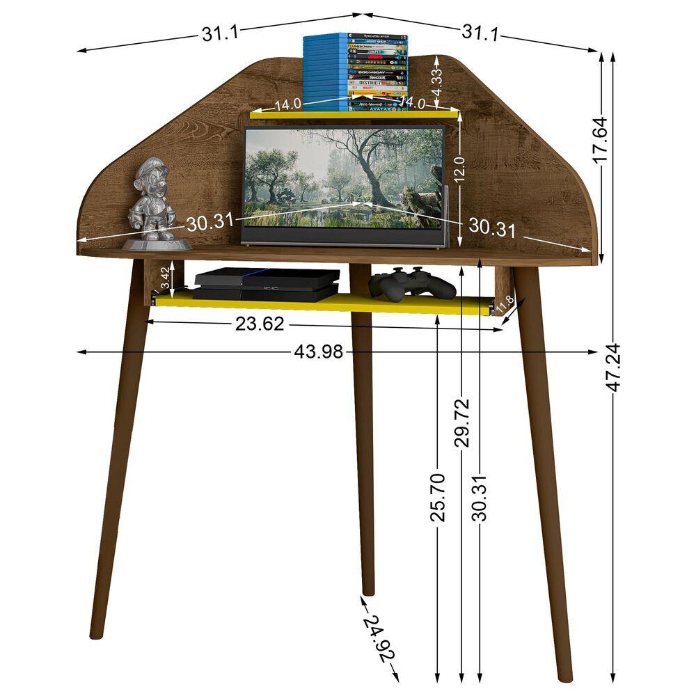 Dayton Bradley Floating Corner Desk in Rustic Brown/Yellow, , large