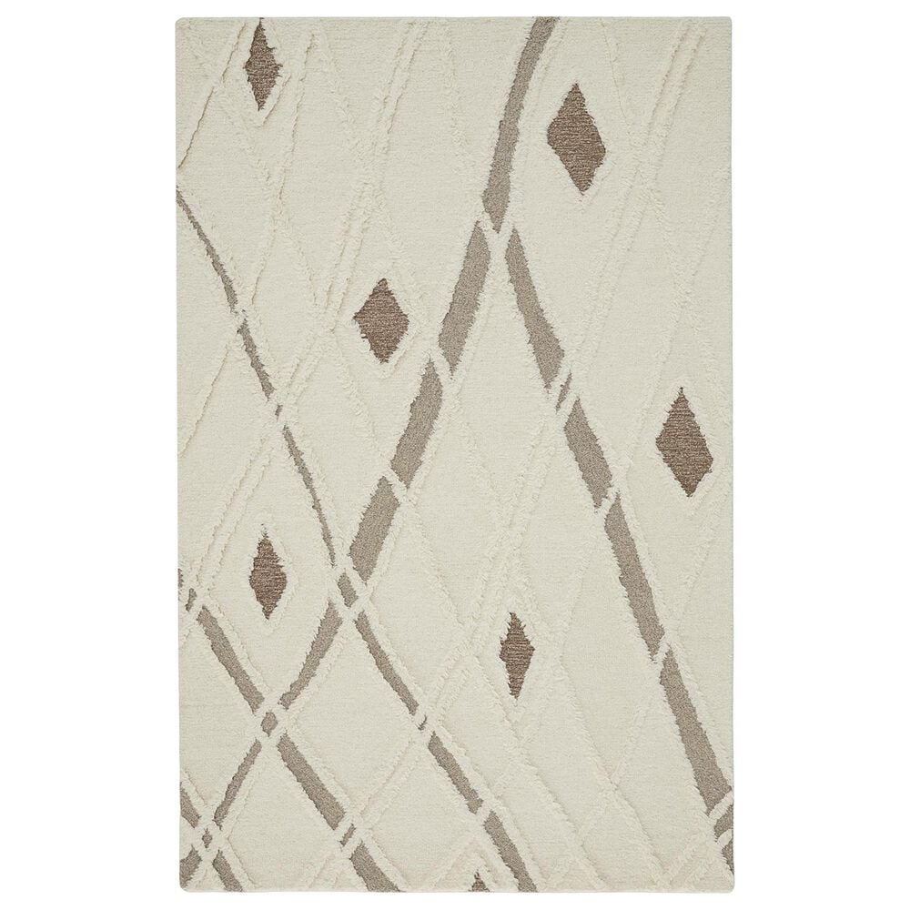 Feizy Rugs Anica 9' x 12' Ivory and Brown Area Rug, , large