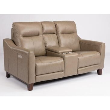 Flexsteel Forte Leather Power Reclining Loveseat with Console in Mushroom, , large