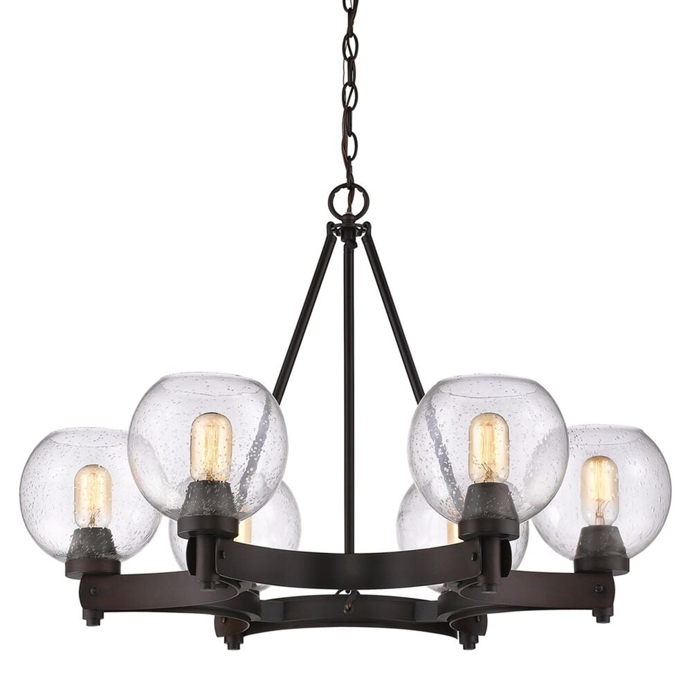 Golden Lighting Galveston 6-Light Chandelier in Rubbed Bronze with Seeded Glass, , large
