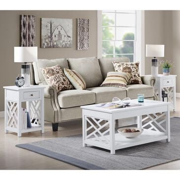Bolton Furniture Coventry 3-Piece Occasional Table Set in White, , large